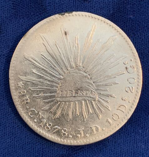 MEXICO  CULIACAN MINT 1878-CnJD  8 REALES SILVER COIN, XF/ALMOST UNCIRCULATED