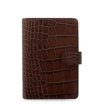 Filofax Classic Croc Print Personal Size Leather Organizer Agenda Ring Binder...