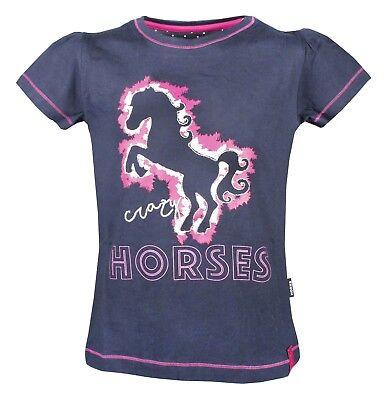 Kontrast Herz (Horka Kinder T-Shirt Nola  Silber mit Herz-Anwendung und Pferd weißer Kontrast)