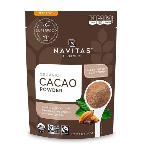 Navitas Organics Cacao Powder 8oz. Bag Organic Non-GMO Fair Trade Gluten-Free