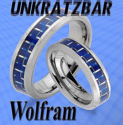 2 WOLFRAM TRAURINGE RINGE , CARBON EINLAGE Blau & GRAVUR GRATIS TUNGSTEN , JW7