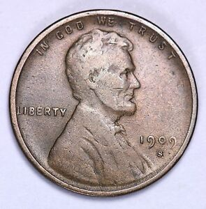 1909-S VDB Lincoln Wheat Cent Penny CHOICE VF+ FREE SHIPPING