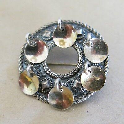 Vintage Norway Norwegian Solje Sterling Round Brooch Pin Made by SE [4017]