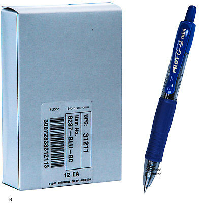 Pilot G2 Mini 31211 Blue Gel Ink 0.7mm Fine Point Rollerball Pen Box Of 12 Pens