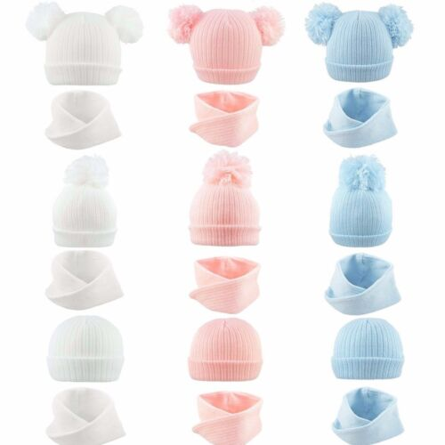 Baby Hat And Scarf Set Double Knitted Winter Warm Snood Pom Hats Boy Girl 3-12 M