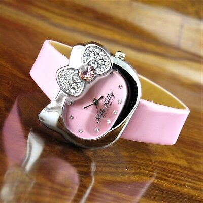 New 2006 Womens Sanrio Hello Kitty Silver TN Rhinestone Pink Leather  Watch