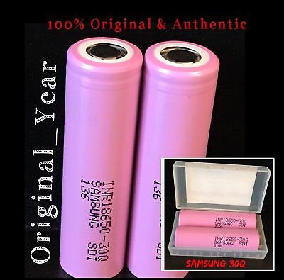 2 SAMSUNG 30Q 18650 3000mah HIGH DRAIN RECHARGEABLE BATTERY 15A DISCHARGE 3.7V