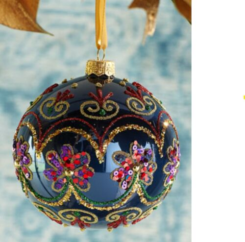 Neiman Marcus Beaded Flower Blue Ball Christmas Ornament