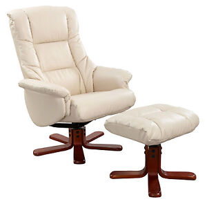 REAL LEATHER SWIVEL RECLINER CHAIR AND FOOT STOOL CREAM / BLACK / BROWN / CHOCO