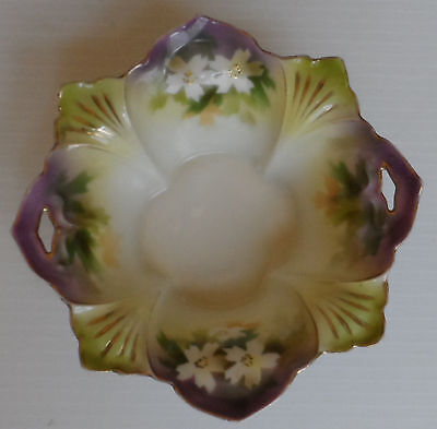 Vintage R. S. Prussia? Hand Painted Porcelain Bowl Flower Shaped Purle Green