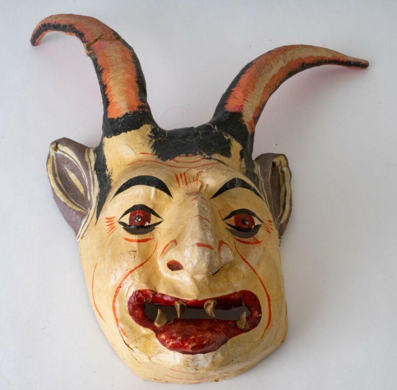 Mexican Vintage Ritual Ceremonial Guerrero Diablo Devil Dance Mask Wall Art