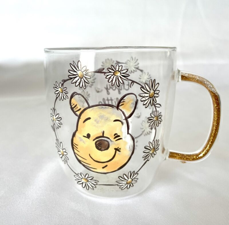 [Brand New] Disney Winnie The Pooh Gold Glass Mug - Limited Edition