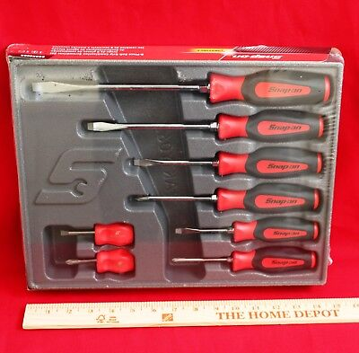 Snap On Red Tools Screwdriver Set 8 Pc. Combination Soft Instinct Handle New