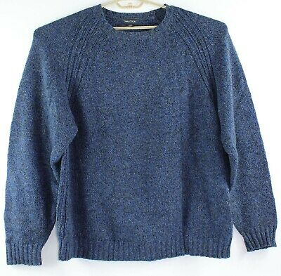 Nautica Mens Size XL Cotton & Wool Blue Long Sleeve Crew Neck Sweater