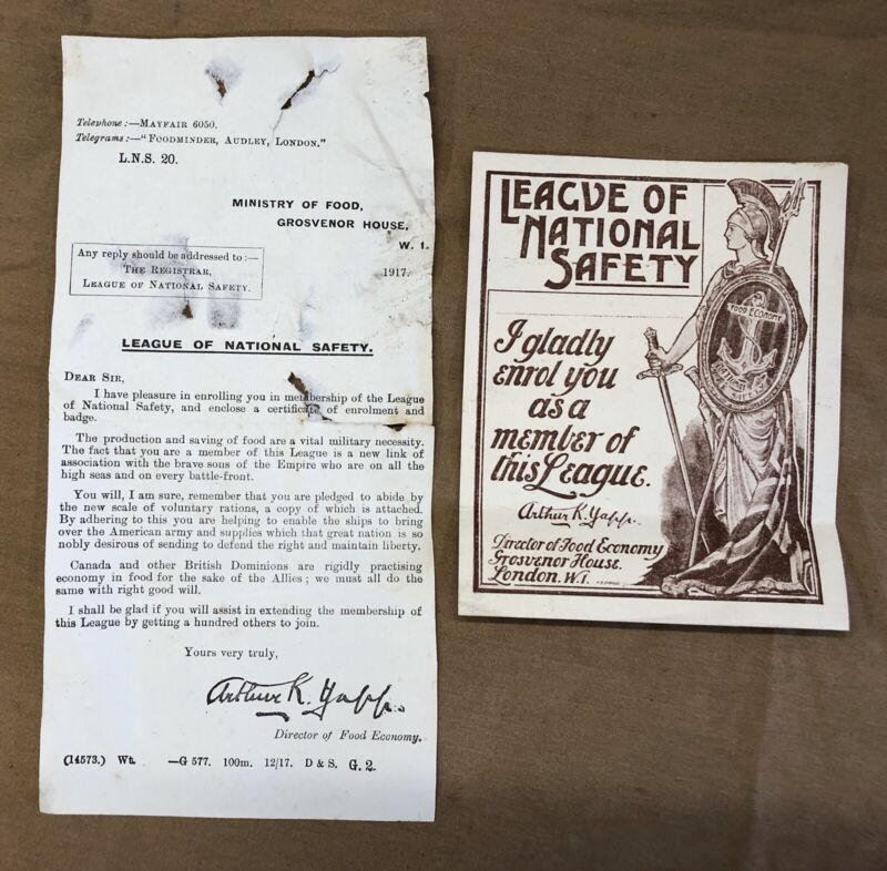 """WW1 GREAT WAR HOME FRONT LEAFLETS X2 """"LEAGUE OF NATIONAL SAFETY """"FOOD RATIONING."""