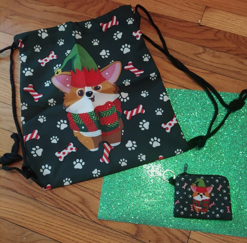 Pembroke Welsh Corgi Christmas Elf 2 pc set drawstring bag backpack & coin purse