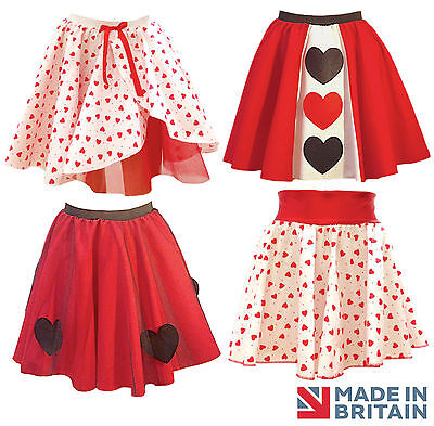 VALENTINES love QUEEN OF HEARTs Style Fancy Dress Skirt outfit Costume UK MADE