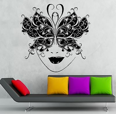 Wall Sticker Vinyl Decal Masquerade Mask Theatre Sexy Girl Face - Masquerade Mask Face Stickers