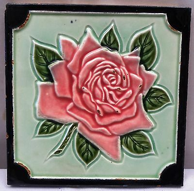 ANTIQUE TILE ART NOUVEAU MAJOLICA RED ROSE DESIGN COLLECTIBLES VINTAGE TILE OLD