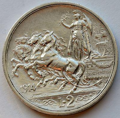 Italy 2 Lire, 1914, Quadriga, Vittorio Emanuele III, Silver coin