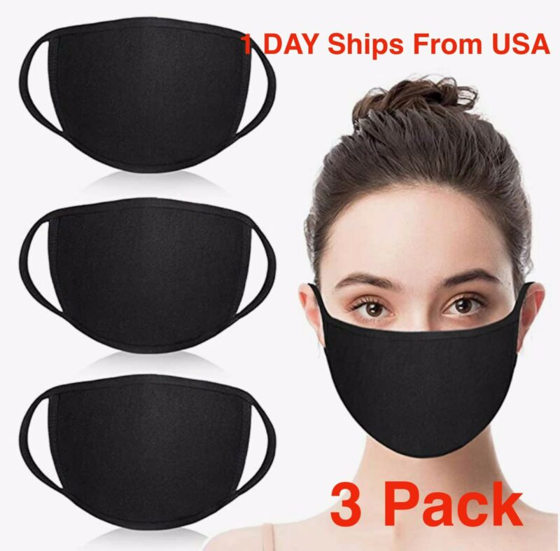 3x Face Masks Reusable Washable Black Fashion Unisex Adult CottonMADE IN USA