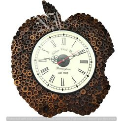 Wooden Hand-Carved Wall Clock Handmade Home Decor Vintage Gift Bamboo Style