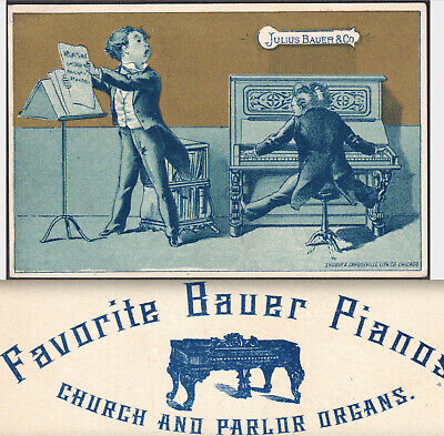 Julius Bauer Piano & Organ Co Chicago Music Victorian Advertising Trade Card
