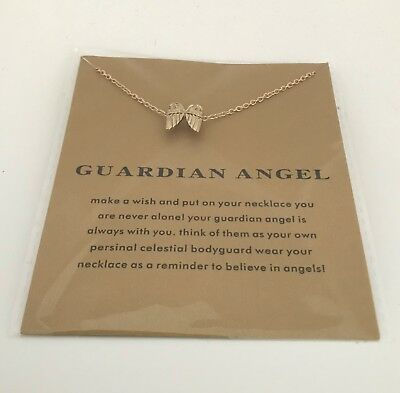 Gold Dipped Guardian Angel Necklace perfect for any occasion Wings dogeared