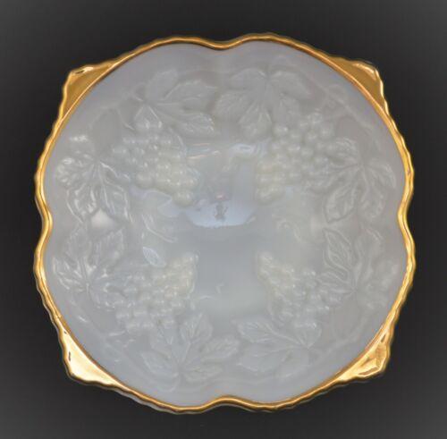 ANCHOR HOCKING MILK WHITE GLASS BOWL EMBOSSED GRAPES GOLD GILT