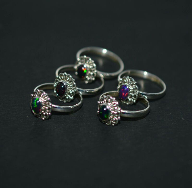 WHOLESALE 5PC 925 SOLID STERLING SILVER BLACK ETHIOPIAN OPAL RING LOT  1 W040