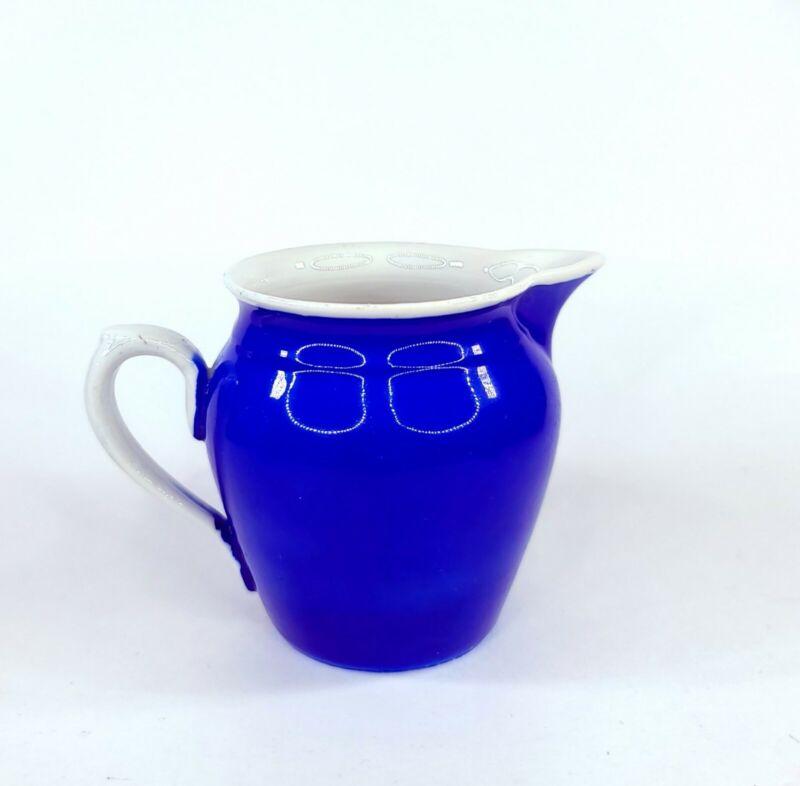 Vintage Czechoslovakia Blue Creamer/Pitcher With White Trim & Handle By Erphila
