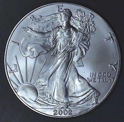 2002 1 oz AMERICAN SILVER EAGLE BRILLIANT UNCIRCULATED ASE  SKU2002B