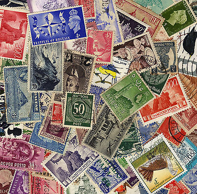100 World Stamps- All Different Good Age/Country Mix