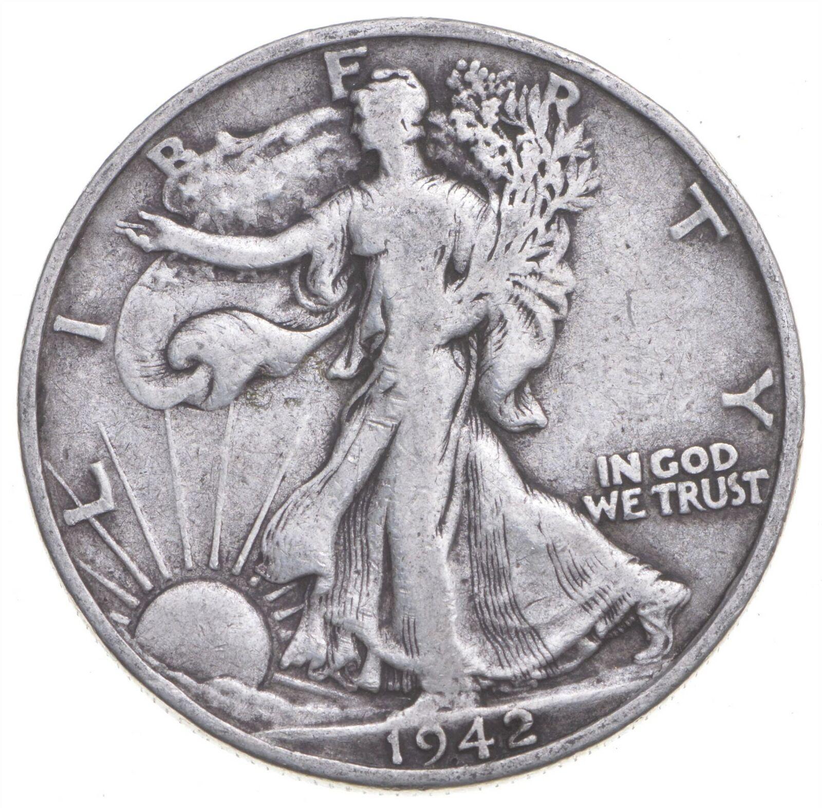 1942-S Walking Liberty 90 Silver US Half Dollar 794 - $0.16