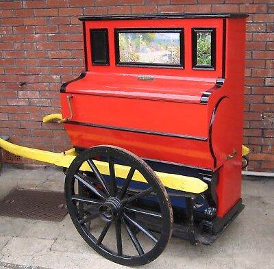 RARE Victorian STREET BARREL PIANO / ORGAN & original Hand Cart - FULLY RESTORED