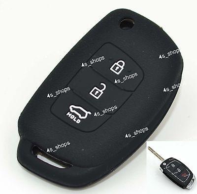 3 Button Black Silicone Skin Cover Flip Key Case For Hyundai Accent IX45 I40 I45