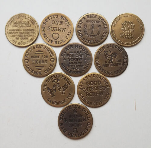 10 Solid Brass Brothel Cat House House Tokens Lot 2