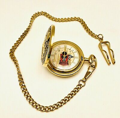 VTG Walt Disney World Railroad Mickey Mouse Conductor Pocket Watch W/ Horn Tune