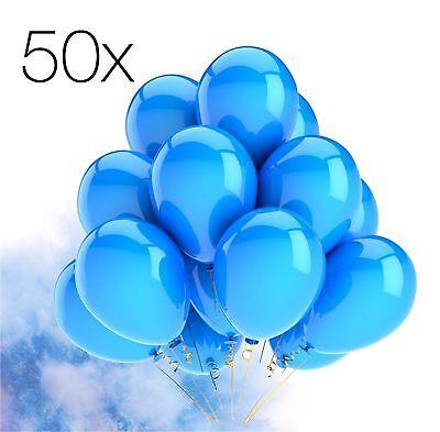 50x Luftballons Ballons Luftballon Luft, Helium blau Hochzeit Deko Dekoration ()