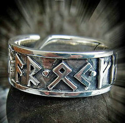 Runen Ring Edelstahl verstellbar Gr. 52-60  Mittelalter AR OK FRIDR Runenring