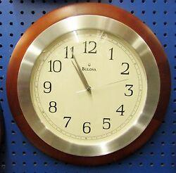 DECORATIVE SOLID WOOD 14  WALL CLOCK MADE BY THE BULOVA CLOCKCOMPANY C4228