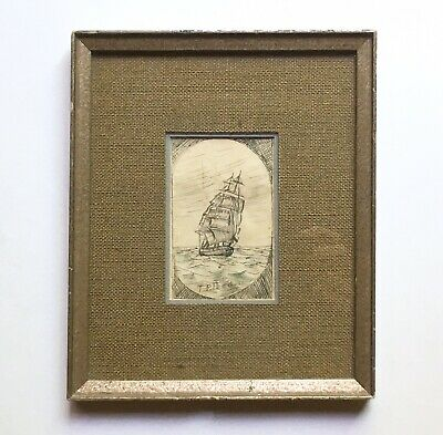 Charming Antique Folk Art Pen & Ink Drawing of Ship Artist Signed Late Victorian