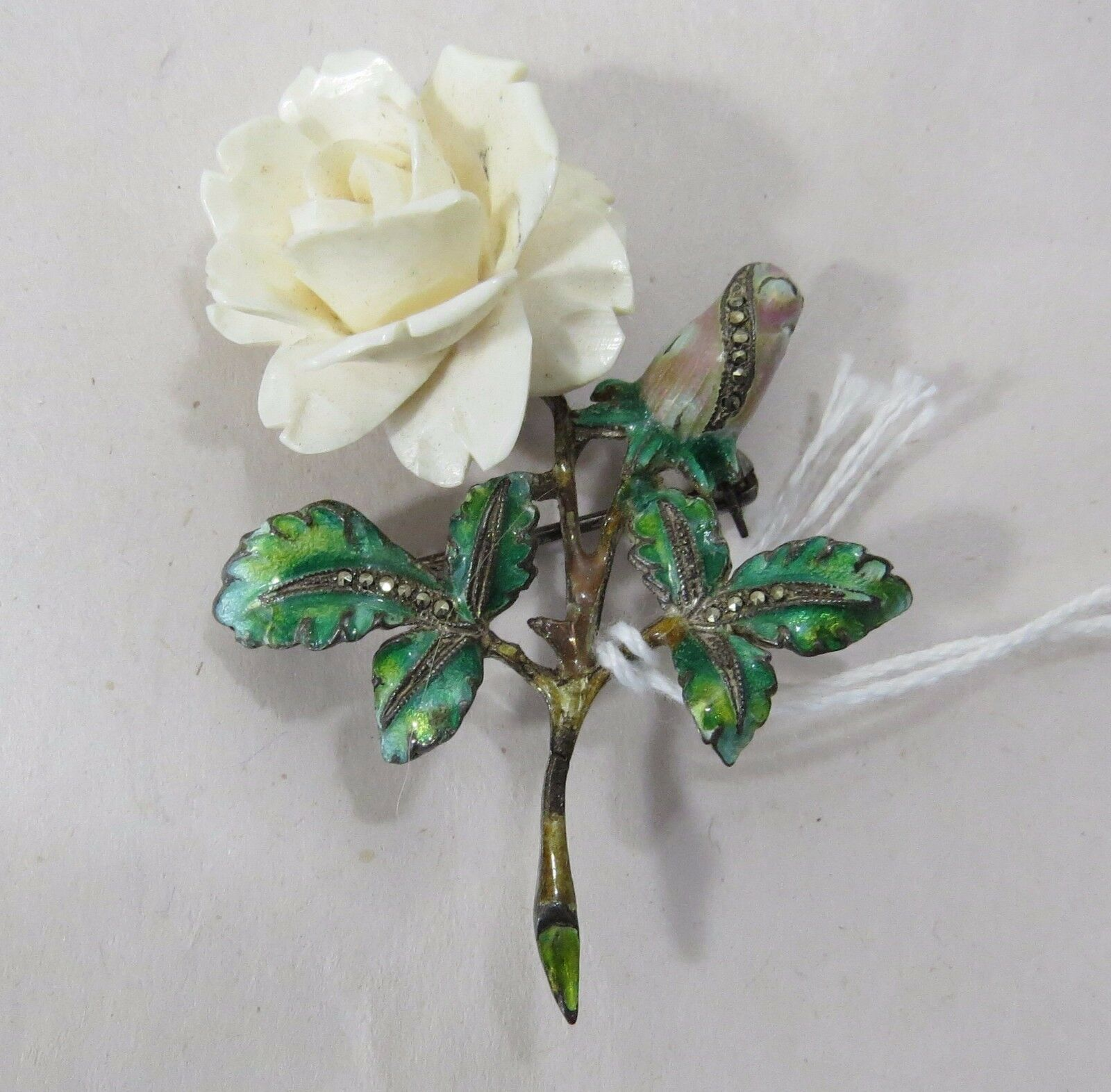 Vintage White Rose Brooch - Sterling Silver W/ Painted Leaves White Flower - $69.95