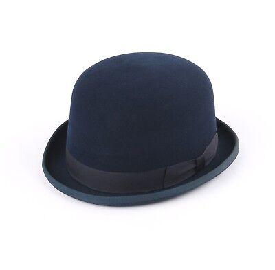 Vtg DIEU ET MON DROIT Navy Blue Wool Felt Derby Bowler Hat
