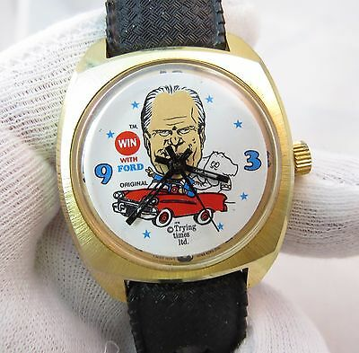 GERALD FORD,Win With Dial,Manual Wind.ULTRA RARE! MEN'S (Ford Black Dial)