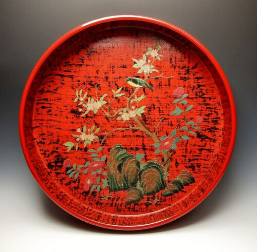 "16"" ANTIQUE JAPANESE RED LACQUER TRAY Song Bird Cherry Blossoms Sakura Taisho"