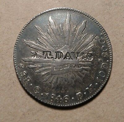 1846 Go 8 Reales Counterstamped J. T. DAVIS and S.WALTON Countermarked Counter