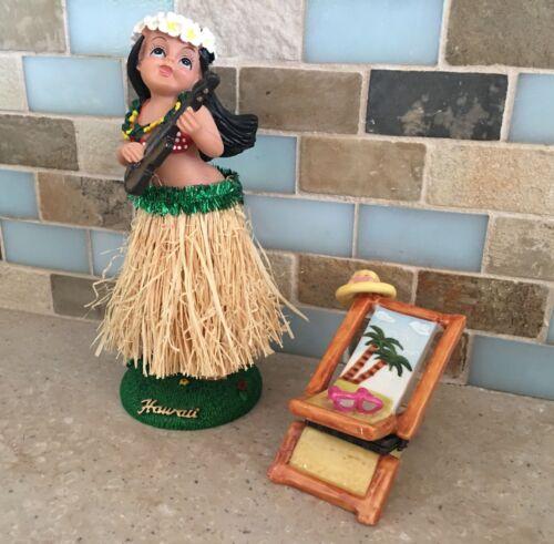 Hawaii Hula Bobble Girl With Tropical Beach Chair Pill Trinket Box, Beach Decor
