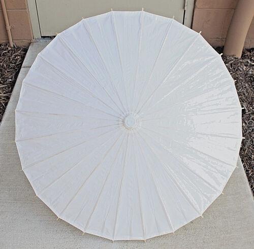 "32"" Inch Dia White Wood Bamboo Paper Parasol Backyard Umbrella Decoration Gift"