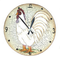 """Signed, Ceramic Pottery ROOSTER WALL CLOCK, Battery Operated, 10 ½"""" Diameter"""